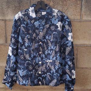 Evan-Picone Woman Floral Longsleeve Blouse Navy 1X